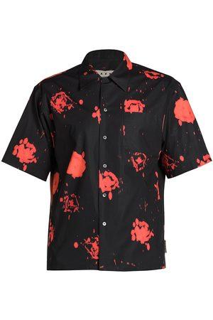 Marni Floral Print Short-Sleeve Button-Down Shirt