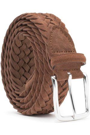 Men Belts - Men's Carbon Neutral Brown Brass Braided Suede Belt Cognac Gilberto 38in Dalgado