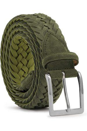 Men's Carbon Neutral Green Brass Braided Suede Belt Vincenzo 40in Dalgado
