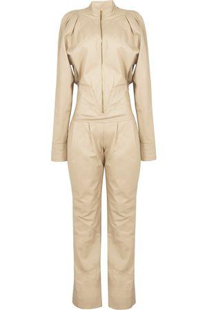 Men's Beige Leather 80S Babe Jumpsuit Medium Paloma Lira