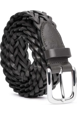 Men's Carbon Neutral Grey Brass Hand-Braided Leather Belt Nicolò 40in Dalgado