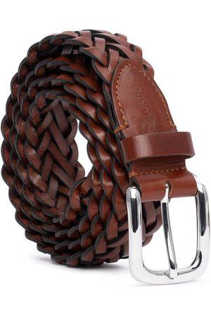 Men's Carbon Neutral Brown Brass Hand-Braided Leather Belt Cognac Renato 42in Dalgado