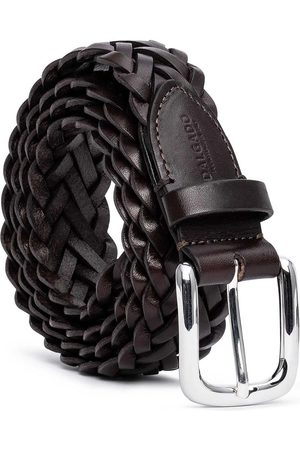 Men Belts - Men's Carbon Neutral Brown Brass Hand-Braided Leather Belt Leonardo 44in Dalgado