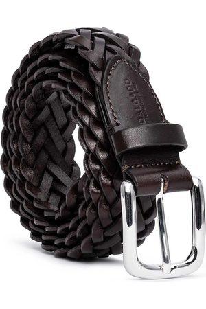 Men's Carbon Neutral Brown Brass Hand-Braided Leather Belt Leonardo 44in Dalgado