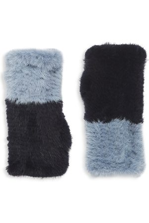 Pologeorgis Two-Tone Knitted Mink Fingerless Gloves