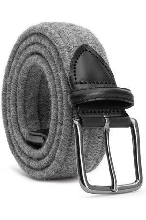 Men's Carbon Neutral Grey Brass Elastic Braided Wool Belt Flavio 44in Dalgado