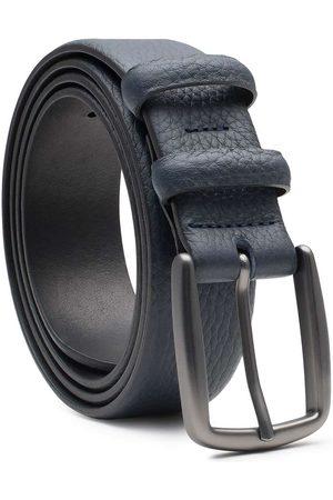 Men's Carbon Neutral Blue Brass Handmade Leather Belt Rèmy 42in Dalgado
