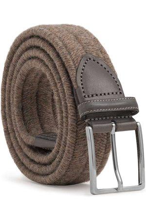 Men Belts - Men's Carbon Neutral Brown Brass Elastic Braided Wool Belt Antonio 42in Dalgado