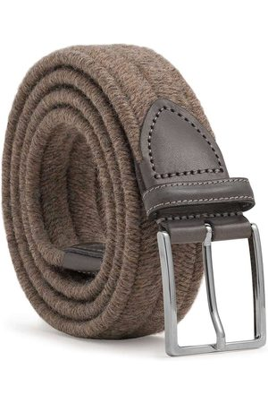 Men's Carbon Neutral Brown Brass Elastic Braided Wool Belt Antonio 44in Dalgado