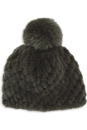 Pologeorgis Knitted Mink Hat With Fox Fur Pom-Pom