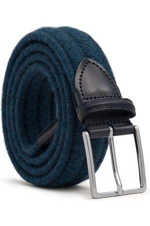 Men Belts - Men's Carbon Neutral Blue Brass Elastic Braided Wool Belt Fabrizio 34in Dalgado