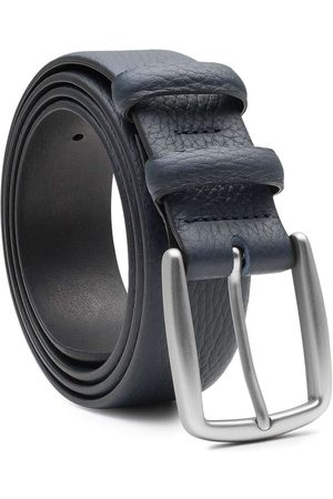 Men's Carbon Neutral Blue Brass Handmade Leather Belt Gaspard 40in Dalgado