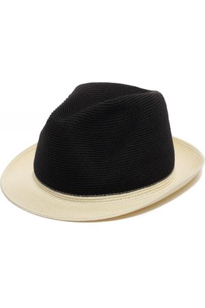 Men Hats - Men's Artisanal Black Stylish Fedora Hat 56cm Justine Hats