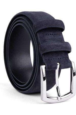 Men's Carbon Neutral Blue Brass Handmade Leather Belt Alfredo 42in Dalgado