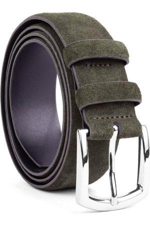 Men's Carbon Neutral Green Brass Handmade Leather Belt Giuseppe 40in Dalgado