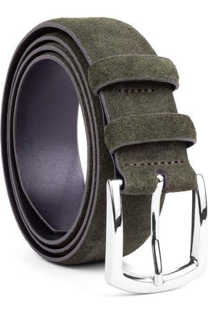 Men's Carbon Neutral Green Brass Handmade Leather Belt Giuseppe 44in Dalgado