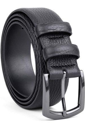 Men's Carbon Neutral Black Brass Handmade Leather Belt Laurent 34in Dalgado