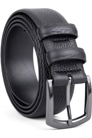 Men's Carbon Neutral Black Brass Handmade Leather Belt Laurent 44in Dalgado