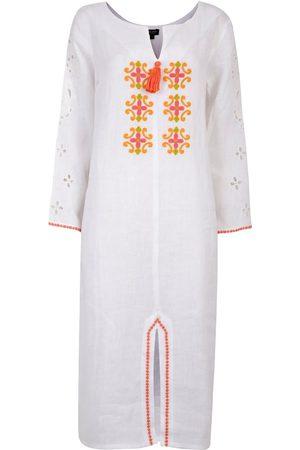 Women's Artisanal White Cotton Santa Fé Embroidered Kaftan Large NoLoGo-chic