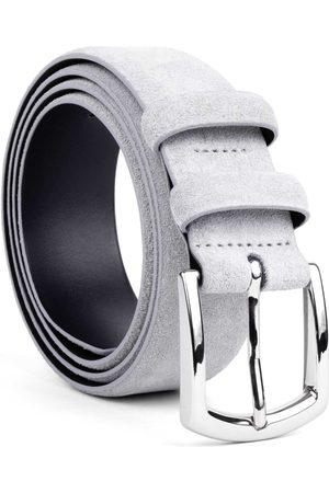 Men's Carbon Neutral Grey Brass Handmade Leather Belt Light Norberto 40in Dalgado