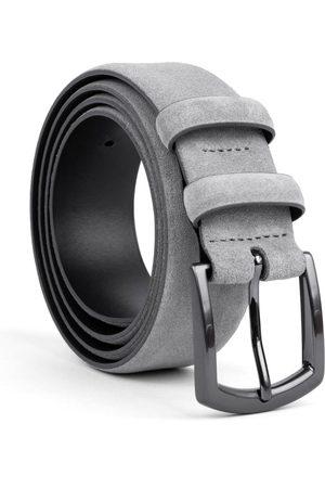 Men's Carbon Neutral Grey Brass Handmade Leather Belt Umberto 44in Dalgado