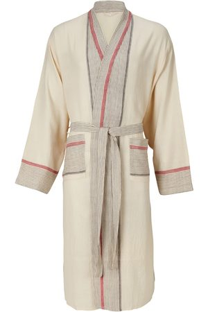 Women Bathrobes - Women's Natural Fibres Natural Cotton Mete Lounge Gown - Ecru & Rose Medium Luks Linen