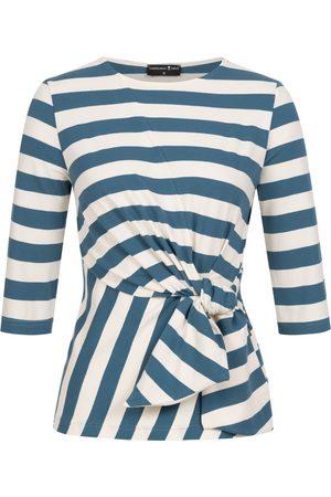Women Wrap tops - Women's Non-Toxic Dyes Blue Luna Wrap Top Striped Large Marianna Déri