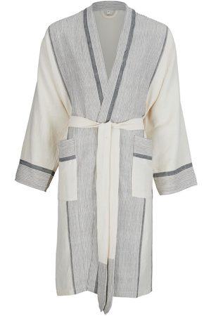 Women Bathrobes - Women's Natural Fibres Black Cotton Mete Hand Loomed Lounge Gown - & Salt Medium Luks Linen
