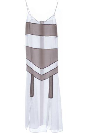 Women's Artisanal White Silk For Tonight Dress Medium Roses Are Red