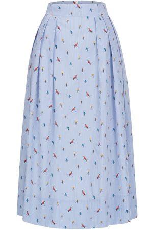 Women Printed Skirts - Women's Non-Toxic Dyes White Cotton Midi Skirt With Parrot Print Medium Marianna Déri