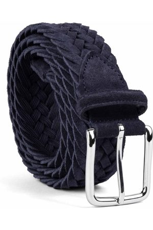 Men's Carbon Neutral Blue Brass Braided Suede Belt Alfredo 36in Dalgado