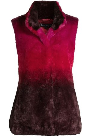 JOCELYN Ombre Faux Fur Roadie Vest With Stand Collar