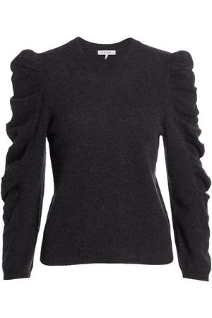 Frame Cashmere-Wool Shirred Sleeve Sweater