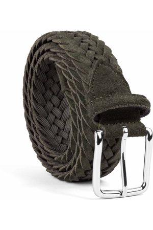Men Belts - Men's Carbon Neutral Green Brass Braided Suede Belt Giuseppe 40in Dalgado