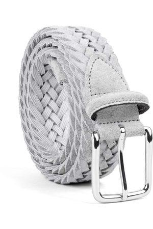 Men Belts - Men's Carbon Neutral Grey Brass Braided Suede Belt Norberto 42in Dalgado