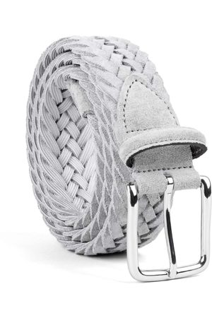 Men's Carbon Neutral Grey Brass Braided Suede Belt Norberto 38in Dalgado