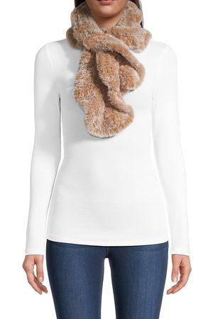 Jocelyn Knitted Faux Fur Ruffle Pull Through Scarf