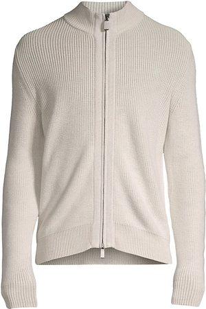 Canali Wool Zip-Up Mockneck Sweater