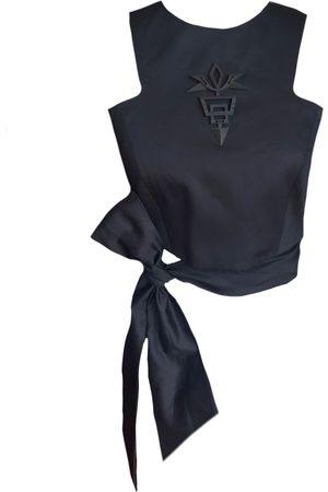 Women Wrap tops - Women's Artisanal Black Cotton 3D Printed Wrap-Around Top Medium Mirimalist