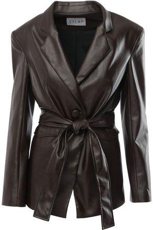 Women Leather Jackets - Women's Vegan Brown Leather 1990 Forest Jacket With Belt Medium Le SLAP