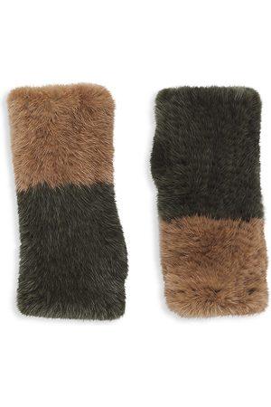 Pologeorgis Women Gloves - Two-Tone Knitted Mink Fingerless Gloves