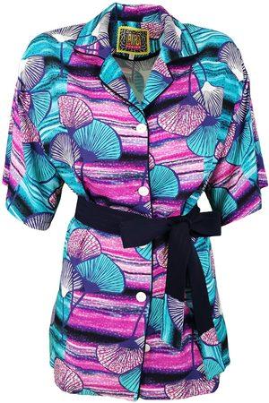 Women Bathrobes - Women's Artisanal Viscose Indigo Kimono Shirt With Belt Small Lalipop Design