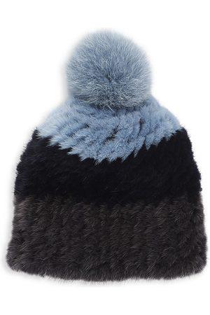 Pologeorgis Three-Tone Knitted Mink Hat With Fox Fur Pom-Pom