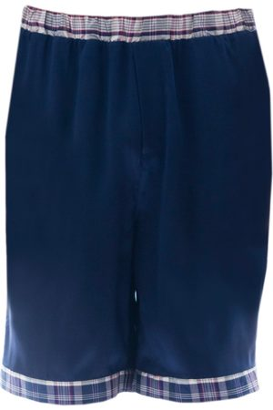 Men's Artisanal Blue Silk Sharpshooter Shorts Large Roses Are Red