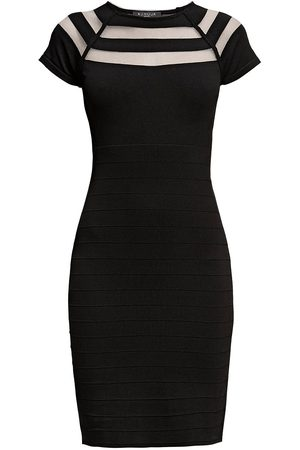 Women Bodycon Dresses - Women's Low-Impact Black Catherine Bodycon Dress With Cut-Out Detail Medium Rumour London