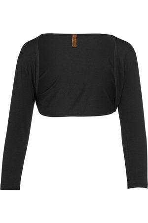 Women Boleros - Women's Artisanal Black Fabric Open Front Bolero Large Conquista