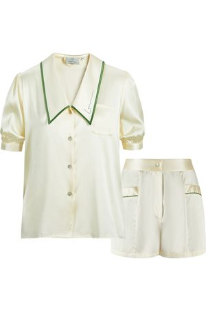 Women's Artisanal White Silk French Style Short Set XL NOT JUST PAJAMA