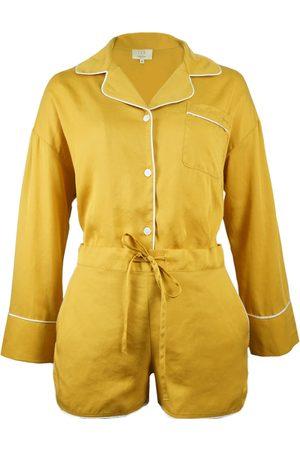 Women's Artisanal Yellow Silk 3-Piece Tencel Pajamas Set Small NOT JUST PAJAMA