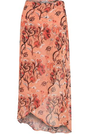 Women's Artisanal Orange Chiffon Floral Beach Skirt With Its Bag kith & kin