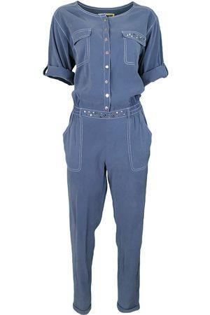 Women Jumpsuits - Women's Artisanal Silk Indigo Cupro Fabric Jumpsuit Small Lalipop Design